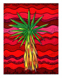 Yucca Tree Mounted Giclee Artwork for Sale features green yucca with yellow trunk on red waves Buy Find Southwest Art