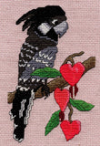 Black Cockatoo Parrot with pink bleeding heart flowers cross stitch completed picture.  Raspberry Lane Crafts for Sale Pattern.
