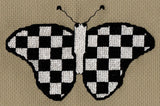 Buy Checked Checkered Black and White Butterfly Cross Stitch Pattern