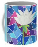 Buy white lotus flower on blue coffee mug.  Stained Glass Look.  Kitchen Accents for a beautiful home.  Buy Find Purchase at Raspberry Lane Crafts