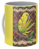 Yellow Parrot Coffee Cup Mug for Sale.  Tropical Kitchen Decor.  Golden Conure Coffee Cup.  Buy Find Purchase at Raspberry Lane Crafts