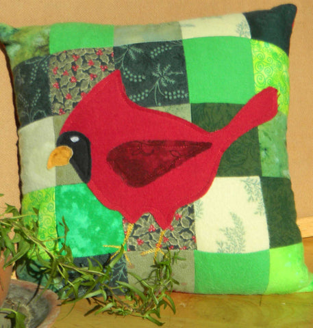 Crimson Cardinal Pillow Sewing Pattern