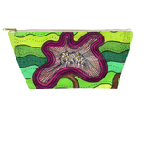 Cool green flower accessory pouch zipper bag for sale at Raspberry Lane Crafts
