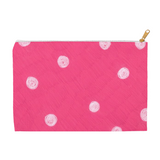 Hot pink dotted spotted zipper bag for sale Snail Shell Dot Accessory Pouches by Wendy Christine