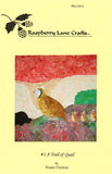 "The quilt block ""A Trail of Quail"" features scaled quail with three chicks against a rocky background."