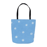 Sea Water Blue Dot Tote Bags for Sale at Raspberry Lane Crafts
