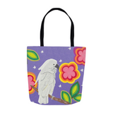 Cockatoo in the Stars Tote Bag from The Art of Wendy Christine for sale at Raspberry Lane Crafts
