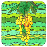 Yellow Grapes on Green Drink Coasters for Sale Set of Four