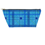 Aqua Plaid Accessory Pouches