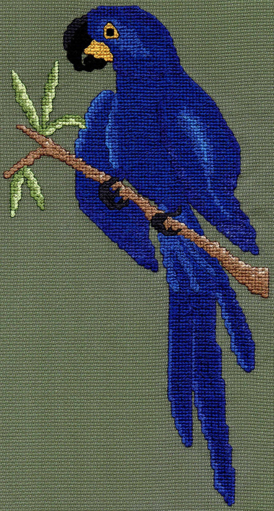 Hyacinth Macaw cross stitch pattern photo of shades of blue parrot perched on a branch with green leaves by Wendy Christine at Raspberry Lane Crafts www.raspberrylanecrafts.com