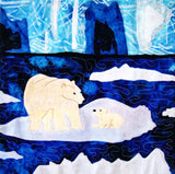 Polar Bear with Cub on Glacier with Water and Icebergs Quilt Pattern Download for Sale