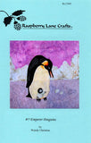 """Emperor Penguins"" features lavender ice on which the chick sits atop the adult penguins feet."