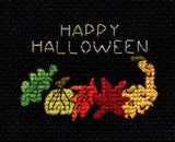 Buy Fall Leaves and Gourds cross stitch pattern is part of the Halloween Night Collection cross stitch patterns at Raspberry Lane Crafts with a green leaf, chartreuse pumpkin, orange oak leaf, red maple leaf and yellow gourd.