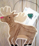 Mail Moose quilted pattern makes a brown moose shape with antlers with a pocket back to hold letters hanging by a wire by Wendy Christine at Raspberry Lane Crafts