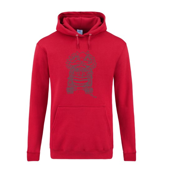 Imperial Guardian Lion Men's Tall Hoodie in Red