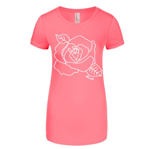 Open Rose Junior's T-Shirt in Neon Pink