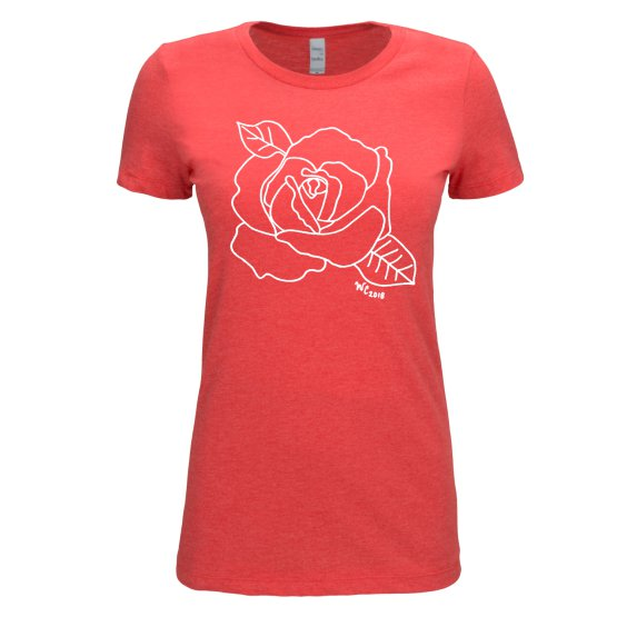 Open Rose Red T-shirt for Women by Wendy Christine