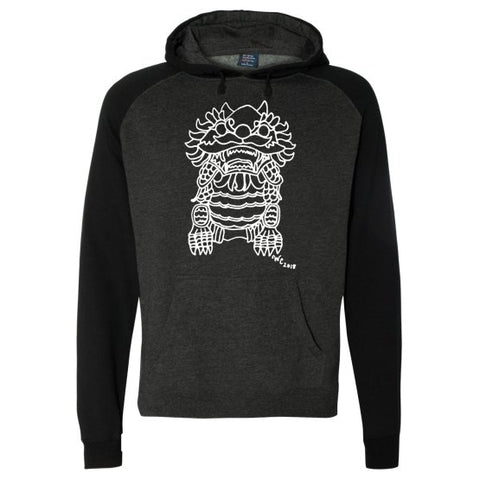 Imperial Guardian Lion Men's Baseball Hoodie in Black