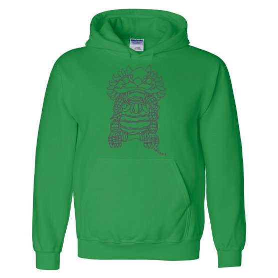 Chinese Foo Dog Hoodie Sweatshirt in Irish Green by Wendy Christine Dragon Lion