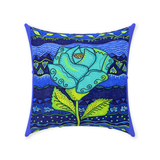 Aqua Rose Throw Pillows