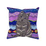 Buy Gray Cat Throw Pillow Purple Find Purchase Raspberry Lane Crafts