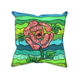 Southwest Throw Pillows for Sale.  Blue Stone features a pink rose flower on aquas and greens.