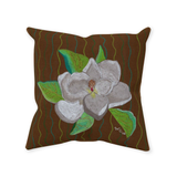 Buy Brown Throw Pillows with White Flowers.  Magnolia Tree Blossom Throw Pillows for Sale at Raspberry Lane Crafts