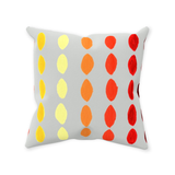 Yucatan Fuego Throw Pillows feature a gray pillow with orange yellow and red geometric patterns.  Find Purchase