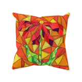 "Clementine Throw Pillows feature a red flower with green stem on orange and yellow ""stained glass"" look.  Find Buy Purchase at Raspberry Lane Crafts"