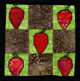 Raspberry Lane Crafts Fruit Potholders Pattern: a nine-square of brown blocks with a green-background red strawberries.