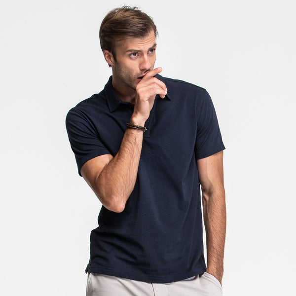 Navy Stretch Polo - Sweat Tailor