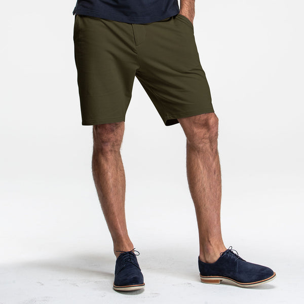 Army Green Stretch Knit Chino Shorts - Sweat Tailor