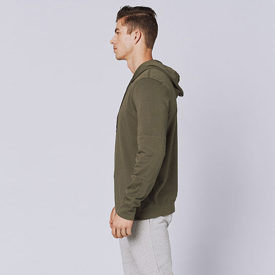 Army Green Stretch Pullover Hoodie - Sweat Tailor