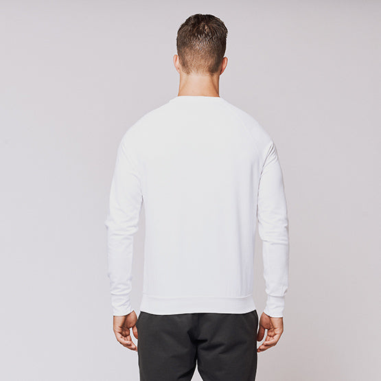 White Stretch Crewneck Sweatshirt - Sweat Tailor