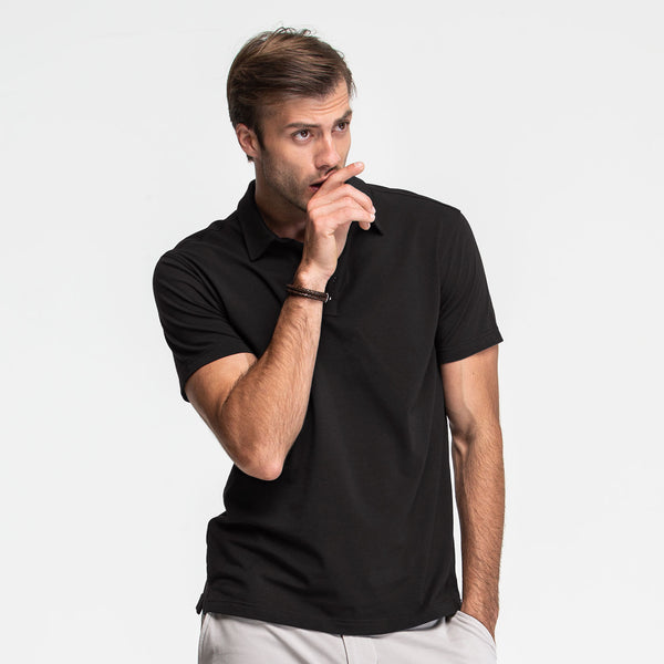 Black Stretch Polo - Sweat Tailor