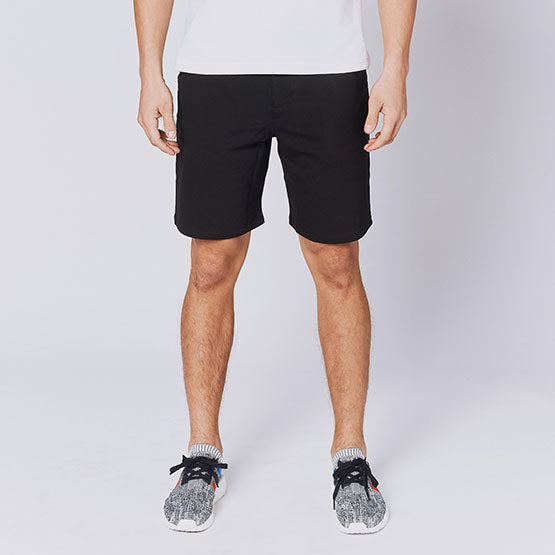 Black Everywear Stretch Knit Chino Shorts - Sweat Tailor