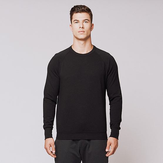 Black Stretch Crewneck Sweatshirt - Sweat Tailor