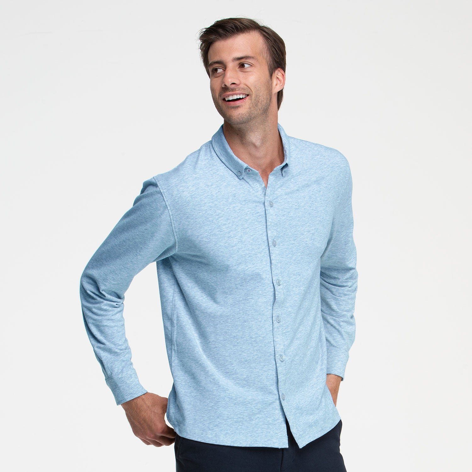 Heather Blue Button Front Shirt - Sweat Tailor