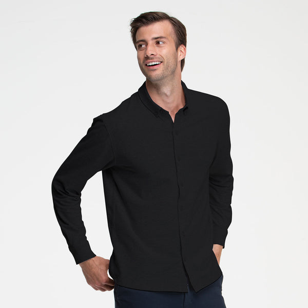 Black Button Front Shirt - Sweat Tailor