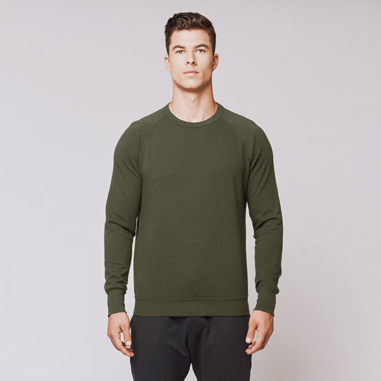 Army Green Stretch Crewneck Sweatshirt - Sweat Tailor