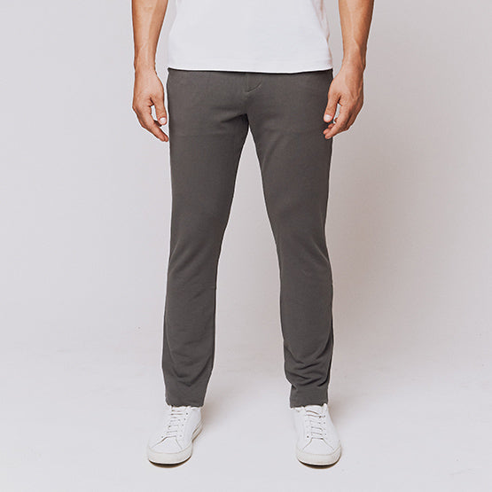 Grey Everywear Stretch Chino Knit Pants - Sweat Tailor