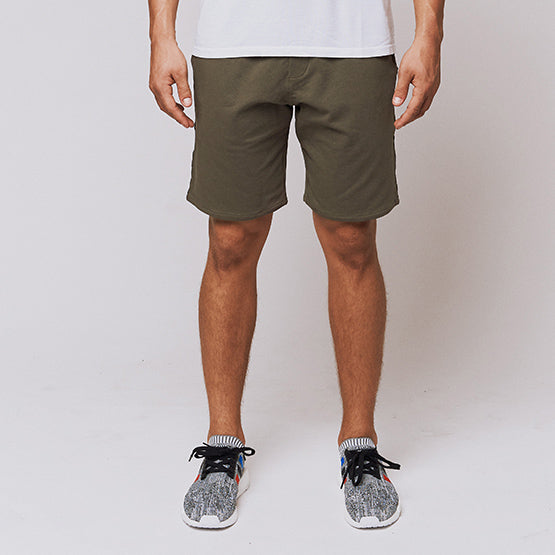 Army Green Stretch French Terry Short