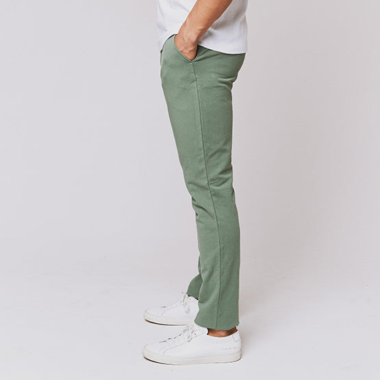 Deep Moss Green Everywear Stretch Chino Knit Pants - Sweat Tailor