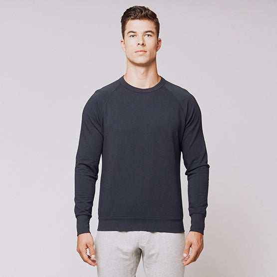 Navy Stretch Crewneck Sweatshirt - Sweat Tailor