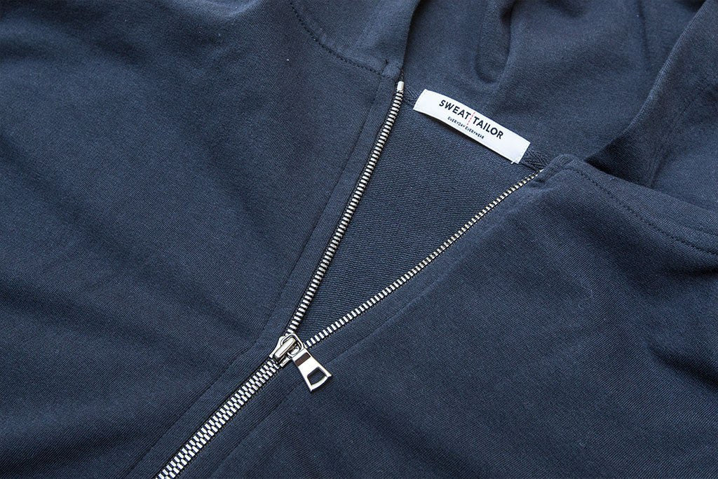 Navy Everywear Stretch Zip Hoodie - Sweat Tailor