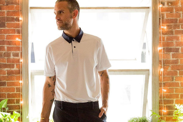 White & Navy Collar Performance Stretch Polo