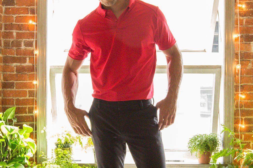 Red Performance Stretch Polo