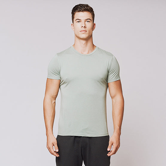 Sage Green Supima Blend Crew - Sweat Tailor