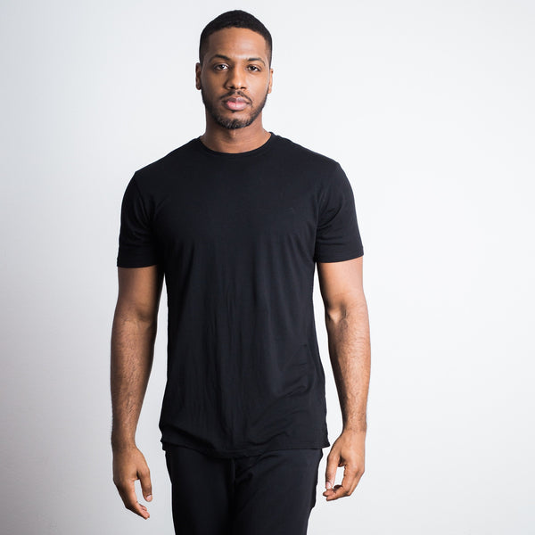 Black Bamboo Cotton Crew