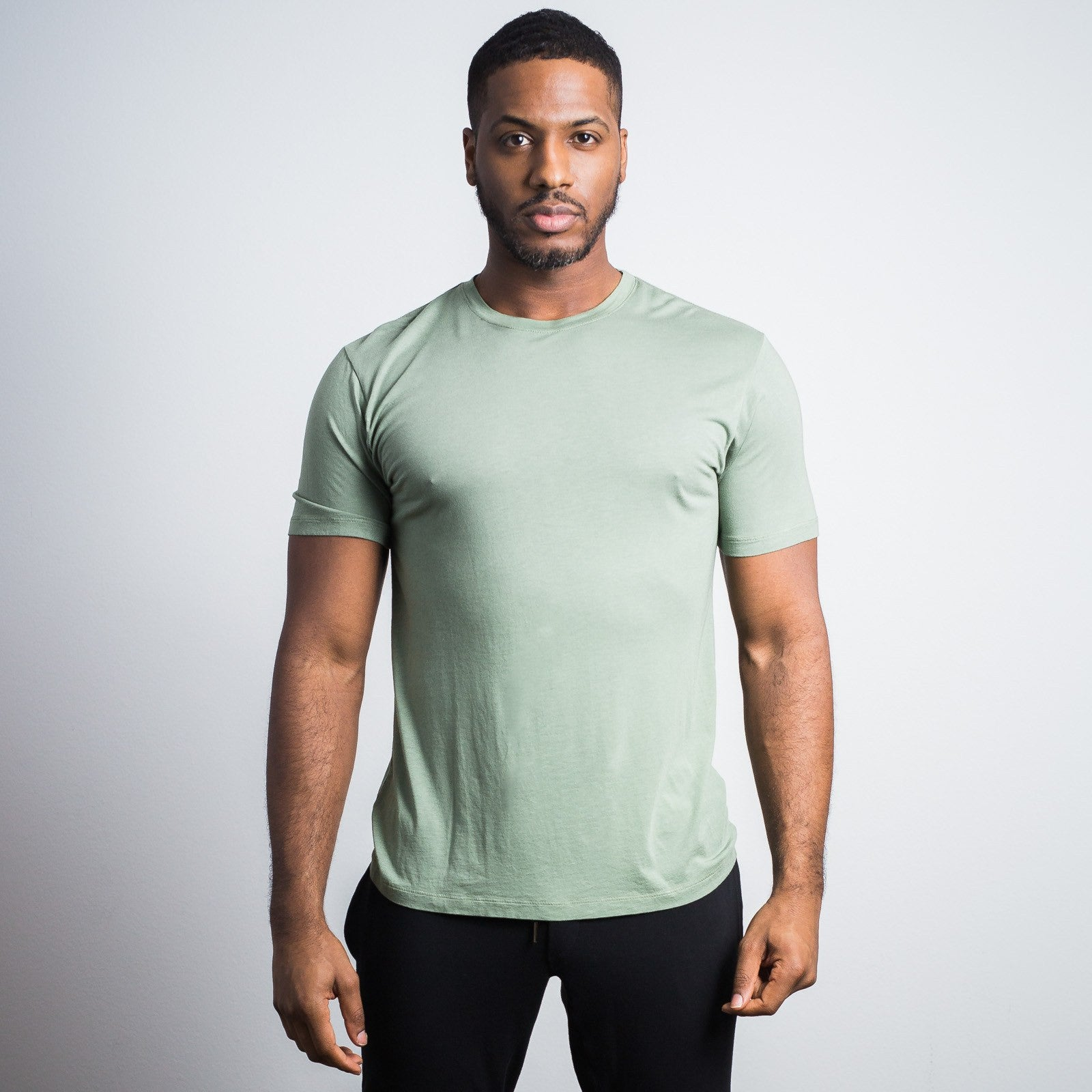 Sage Green Bamboo Cotton Crew - Sweat Tailor